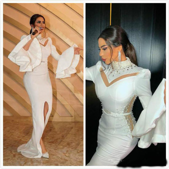 QueenLine White Beaded Crystals Prom Dresses Mermaid Long Sleeves High Split Evening Dresses Celebrity Party Gowns Wear