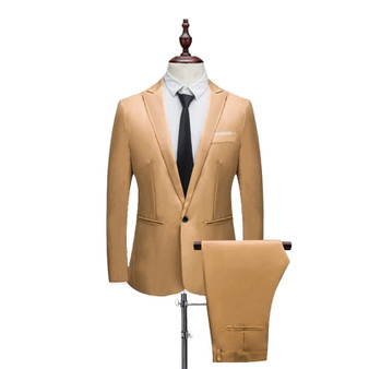 QueenLine New Male Spring And Autumn Thin Section Pure Color Groom Tuxedos Wedding Suits (Jacket+ Pant) Casual Slim Fit 2 Pieces