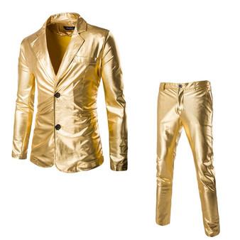 QueenLine party show costume mens suits with pants 2-Piece set solid 2019 traje hombre gold Bronzing shining slim fit men suit d91004