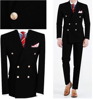 QueenLine 2019 Men Suit Slim Fit Mens Wedding Suits Black Peaked Lapel Double Breasted Men Suits 2 Piece Coat And Pants Groom Suit