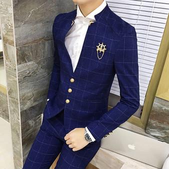 QueenLine Mens British Business Casual Slim Fit Plaid Suits Blazers Male 2 Piece(Blazer + pants) handsome Wedding Groom Dress Suit