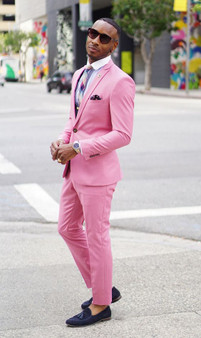 QueenLine Latest Coat Pant Hot Pink Men Suits Jacket Slim Fit Skinny 2 Piece Casual Prom Blazers Custom Groom Tuxedos Jacket+Pant+Vest