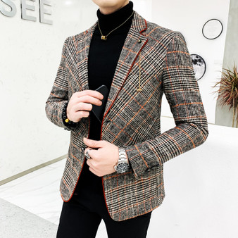 QueenLine British Style Plaid Blazer for Men Suit Jacket Casual Woolen Wedding Dress Coat Single Business Male Button Veste Costume Homme