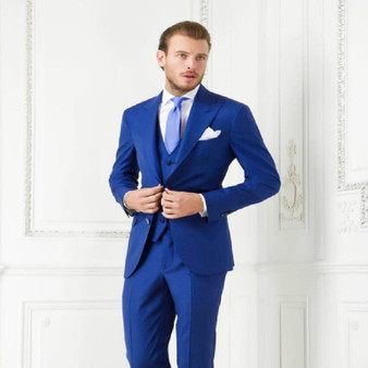 QueenLine Two Buttons Royal Blue Groom Tuxedos Peak Lapel Groomsmen Men Wedding Suits Blazer Prom Suits( Jacket+Pants+Vest+Tie)