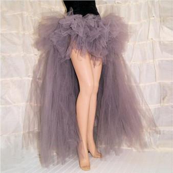 QueenLine New Arrival High Low Gray Long Tulle Formal Skirt Custom Fashion Floor Length Hi Lo Maxi TuTu Skirts Adult Saia Longa Faldas
