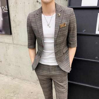 QueenLine 2019 Men Suit Fashion Casual Slim Fit Suits Seven Part Sleeve Plaid 2 Piece Set tuxedo Wedding Suit Costume Homme