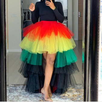 QueenLine Fashion Mix Color High Low Tiered Ruffles Tulle Skirts Puffy Custom Made Elastic Fashion Long Tutu Skirt Women 2020