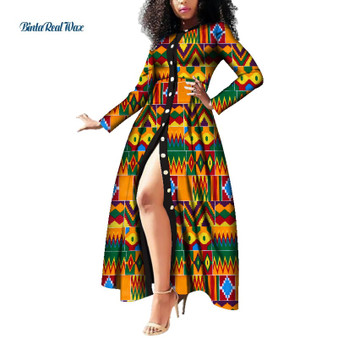 QueenLine African Dresses for Women Wax Print Button Long Dresses Vestido Bazin Riche Dashiki Women African Design Clothing WY3785