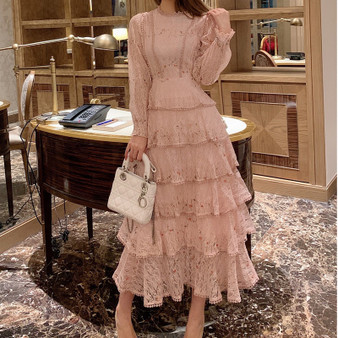 QueenLine Pink Lace Embroidery Maxi Dress Female spring Winter Full sleeve high waist Ruffle elegant Long party dresses Woman 2020