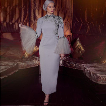 QueenLine Vintage Muslim Sheath Evening Formal Dresses Ankle Length High Neck Long Sleeves Prom Gowns Lace Appliqued Grey Party Dress 2020