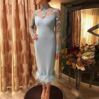 QueenLine Luxury Sheath Prom Dresses High Neck Lace Appliques Long Sleeves Formal Evening Dresses Satin Zipper Back Feather Party Gowns