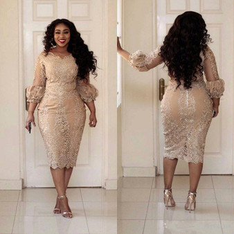 QueenLine Plus Size Women Formal Dress Tea Length 3/4 Long Sleeve Sheath Evening Gowns Lace Appliqued African Arabic Gala Party Dress