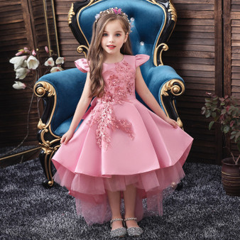QueenLine 2020 new summer flower girl wedding party birthday dress princess dress girl Tutu vestido baby kids big bow elegant dress 3-12 T