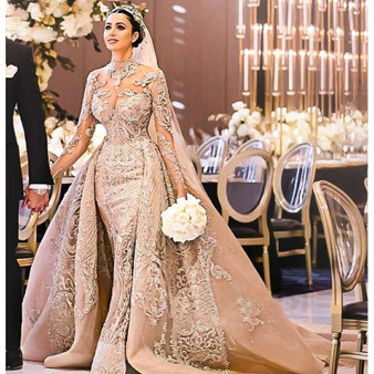 QueenLine Luxury Long Sleeves Ball Gown Wedding Dresses High Neck Wedding Gowns with Over Skirt