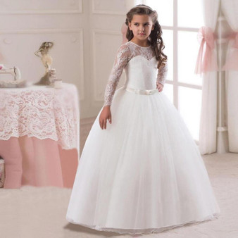QueenLine Girls Kids Wedding Flower Girl Dress Princess Party Pageant Dresses Long Sleeves Long White Dresses vestido longo 5-14T Teenage