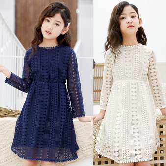 QueenLine Kids Dresses Teenage White Blue Wedding Party Dress Lace Girl Dress Long Sleeve Children Clothing Spring Autumn 6 8 10 12 14 16