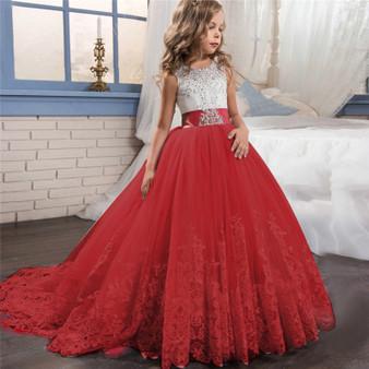 QueenLine Fancy Kids Dresses For Girls Teenager Bridesmaid Elegant Princess Wedding Lace Dress Vestido Party Formal Wear 8 10 12 14 Years