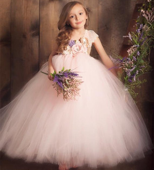 QueenLine Baby Girls Pink Vintage Flower Tutu Dress Kids Tulle Dress Ball Gown with Lace Shoulder Children Christmas Party Costume Dresses