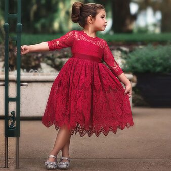 QueenLine Autumn Lace Cotton Half Sleeve Girls Formal Dress Princess little Girls Flower Embroidery Dresses Kids Party Ball Gown Clothing