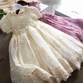 QueenLine Summer Girl Dress Casual Baby Girls Clothes Kids Dresses For Girls Lace Flower Wedding Gown Children Birthday Party School Wear