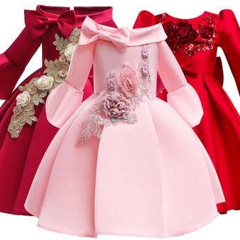 QueenLine Winter Girls Dress Embroider Kids Dresses For Girls Long Sleeve Elegant Wedding Party Princess Dress Carnival Children Clothing