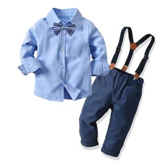 QueenLine Boys Wedding Suits Kids Clothes Toddler Formal Kids Suit Children'S Wear Blouse Overalls Tie 3pcs Sets Boys Outfit Baby Clothes