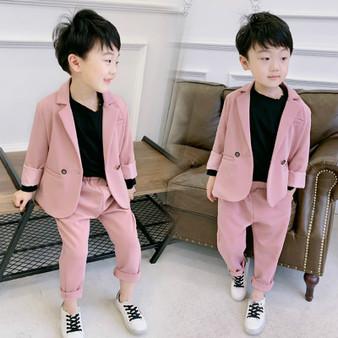 QueenLine Kids Gentleman Wedding Formal Suits Boys Party Wear 2pcs Solid Blazer+Pant Fashion Children Formal Clothing Set  kids blazer