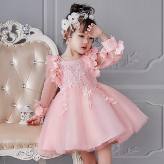 QueenLine New Year Cute Baby Girl Party Dress Birthday Wedding Princess Toddler Floral Clothes Children Kids Dresses For Girls Long Sleeve