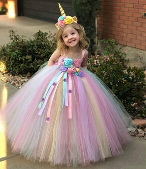 QueenLine Girls Pastel Unicorn Flower Tutu Dress Kids Crochet Tulle Strap Dress Ball Gown with Daisy Ribbons Children Party Costume Dress