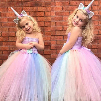QueenLine Cute Girls Unicorn Flower Dress Kids Pastel Tutu Dress Crochet Tulle Dresses with Hairbow Ball Gown Children Party Costume Dress
