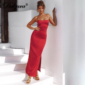 QueenLine satin women midi long dress lace up bandage bodycon sexy slit party elegant 2019 autumn winter clothes backless outfit