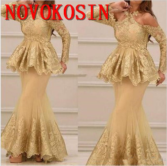 QueenLine 2020 Arabic Halter New Style Gold Mermaid Prom Party Formal Gowns Long Sleeves Lace Evening Dresses with Ruffle Applique Tulle