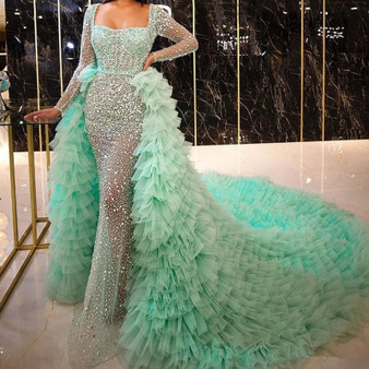 QueenLine Light Green Mermaid Evening Dresses with Detachable Train Robe De Soiree Long Sleeve Sequins Tier Tulle Party Pageant Dress Prom