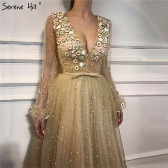QueenLine Arabic Long Sleeve Beaded Floral Formal Evening Prom Dress Robe Kaftan Dubai Soiree Evening Dresses Serene Hill BLA6483