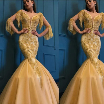 QueenLine Gold Mermaid Abendkleider Arabic Beaded Tassel Evening Gowns 2019 Saudi Arabia Dubai 3/4 Sleeves Sexy Prom Party Dresses