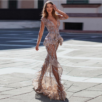 QueenLine New Arrival Arabic Dubai Shiny Beaded Sequin Evening Party Formal Dresses Elegant Long Sleeves Mermaid Prom Gown Custom Made
