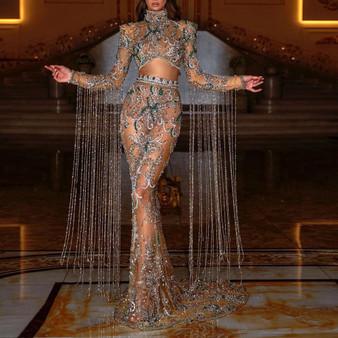 QueenLine Luxury Dubai Beadings Prom Dresses Sheer Long Sleeves With Tassels High Neck Mermaid Prom Girls Custom Made Long Gowns