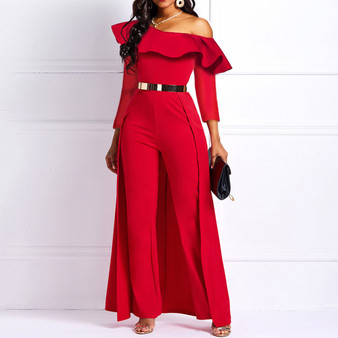 QueenLine 2020 Wide Legs Sexy Jumpsuits for Women One Shoulder Long Sleeve Casual Elegant Femme Party Swallowtail Overalls Long Jumpsuits