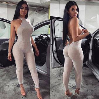 QueenLine Sexy Off Shoulder Halter Glitter Romper Womens Jumpsuit Backless Skinny High Waisted Night Club Party Bodysuit Bodycon Overalls