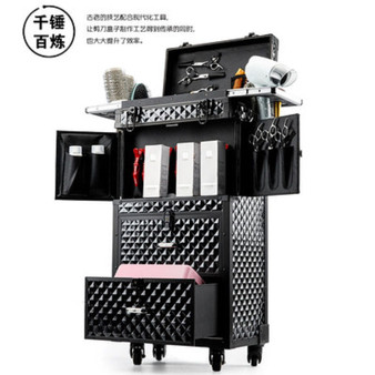 QueenLine luxury large volume Multifunctional cosmetic Rolling Luggage Professional hairdressing tools brand custom Suitcase