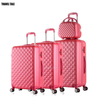 QueenLine spinner ABS travel suitcase set hardside trolley case luggage sets 3pcs free shipping