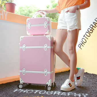QueenLine 24 inch Luggage Set Women Travel bag Suitcase Wheels Password Trolley  Student Carry On Trunk
