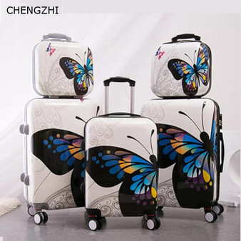 "QueenLine 20""24Inch Butterfly Rolling Luggage Set  Wheel Women Travel suitcase Spinner High Capacity Cabin Trolley Bag"