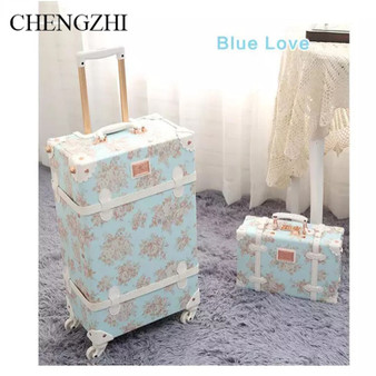 "QueenLine 20""24""26 inch Retro floral rolling luggage sets spinner trolley women suitcase trolley bags on wheels"