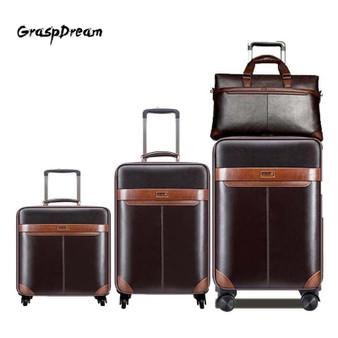 QueenLine Men Business Rolling Luggage Set Luxury 20/24 inch Retro Wheel Suitcases with handbag Trolley password Travel Bag