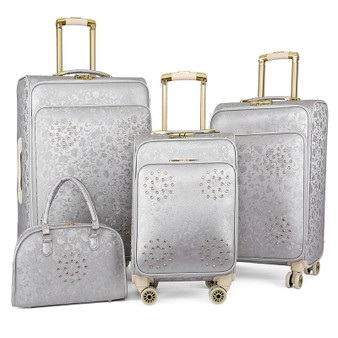 "QueenLine 20""inch women spinner leather retro trolley bag 24 travel suitcase hand luggage set"
