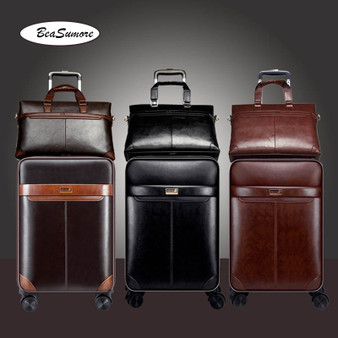 QueenLine Men Business PU Leather Rolling Luggage Set Spinner 24 inch Retro Wheel Suitcases 20 inch Cabin password Trolley