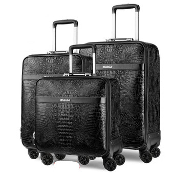 QueenLine Retro Crocodile Rolling Luggage Spinner Men Business Trolley Suitcase Wheels 16 inch PU Leather Cabin Travel Bag Trunk
