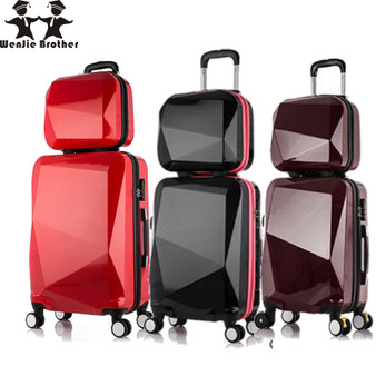 QueenLine 2PCS/SET shinning 14inch+20inch Cosmetic bag men and women trolley case Travel luggage woman rolling suitcase