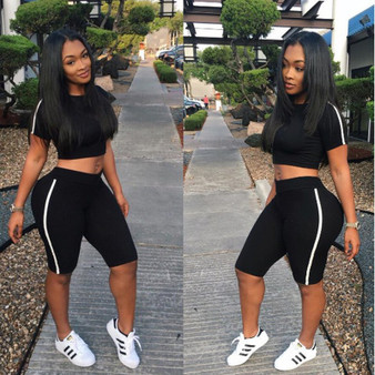 QueenLine  Black Trim Skinny Tracksuit Women Casual Short Sleeve T Shirt Crop Top With Shorts Two Piece Set Sexy Night Club Women Outfit